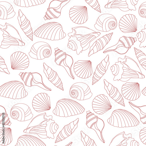 Foto Seamless pattern with outline seashells and colorful bubbles
