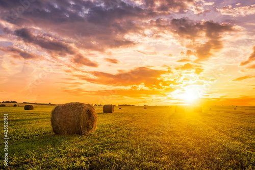 Canvas Print Sunset in a field with haystacks on a summer or early autumn evening with a cloudy sky in the background