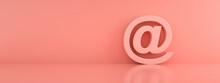 Pink Mail 3d Render  Design Element Email Sign, @ Symbol, Panoramic Image