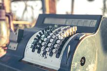 Close Up Of Old Vintage Mechanical Cash Register.