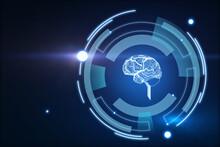 Hologram Brain Encircled In Multiple Rectangles On Blue Background, Artificial Intelligence Concept. 3d Rendering