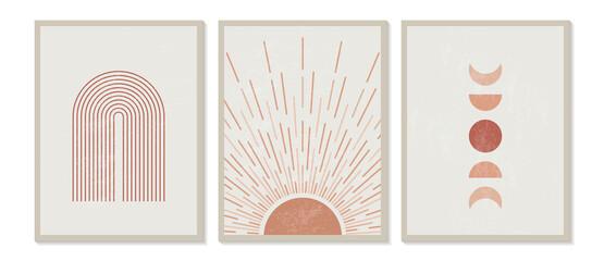 Mid century modern minimalist print with contemporary geometric Moon phases