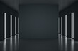 Black partition with copyspace in the center of stylish black room with led lights on walls. 3D rendering, mockup