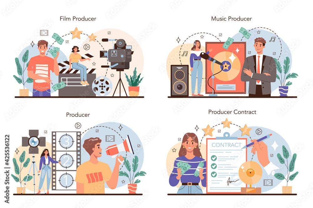 Fototapeta Producer concept set. Film and music production, entertainment