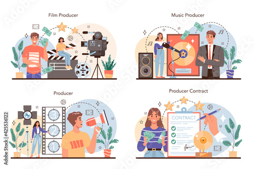 Obraz Producer concept set. Film and music production, entertainment - fototapety do salonu