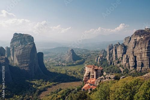 Obraz na plátně Rocks and Monasteries of Meteora, Greece