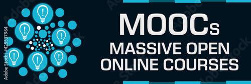 Fototapeta MOOcs - Massive Open Online Courses Blue Dots Circular Bulbs Left