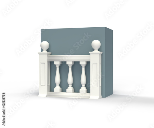 Fotografia 3D illustration, icon, classic architecture balustrade, isolated on white backgr