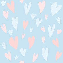 Seamless Pattern With Hearts. Digital Illustration. Decor For Valentine's Day. Wallpaper For The Children's Room. Love Is. For The Design Of Wedding Invitations. Clip Art For Scrapbooking. Texture