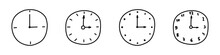 Set Of Hand Drawn Wall Clocks Isolated On White Background. Doodle Style. Timing Concept. Vector Illustration