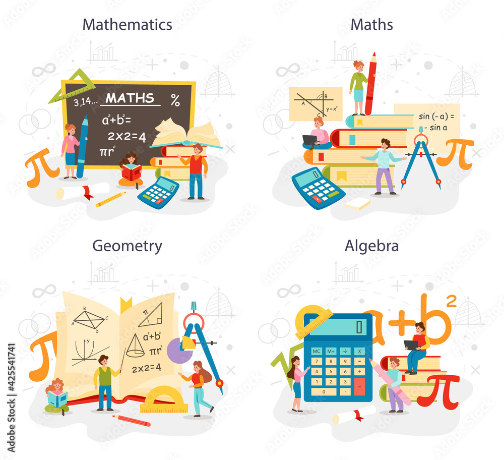 Fototapeta Math school subject set. Learning mathematics, geometry and algebra