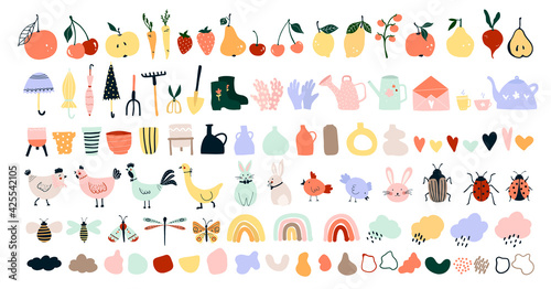 Fotografia Cute hand drawn spring icons, garden tools, fruits, vegetables, chickens, hares, bees, butterflies