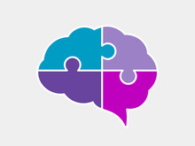Brain Puzzle Icon. Colorful Neurodiversity Concept. Human Mind Complexity. Creativity And Brainstorming. Emotional Intelligence. Mental Health Balance. Jigsaw Pieces. Vector Illustration, Clip Art