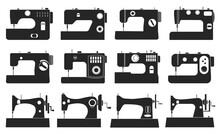 Sewing Machine Vector Illustration On White Background. Isolated Black Set Icon Tool For Sew. Vector Black Set Icon Sewing Machine.
