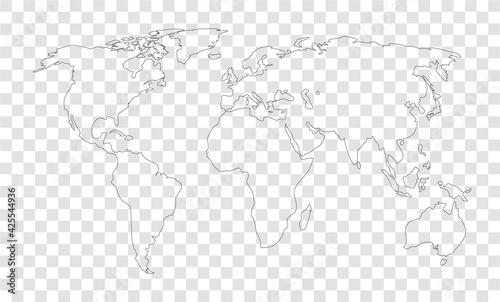 Fototapeta world map on transparent outline background obraz