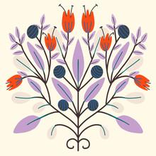 Folk Art Scandinavian Symmetric Design. Retro Floral Folk Art Pattern
