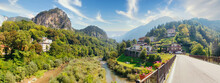 Beluno, Italy August 7, 2018: Perarollo Di Cadore Mountain Village. Houses On The Mountains.