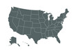 Grey map of United States of America on white background. Vector illustration eps 10