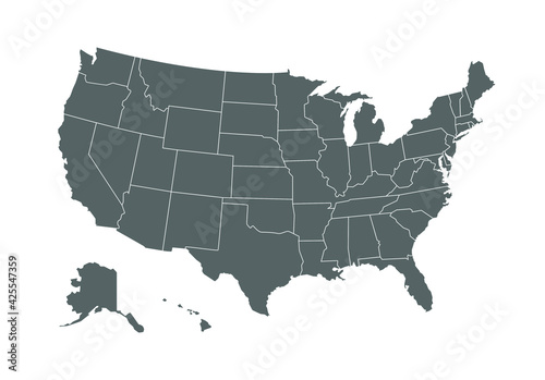 Fototapeta Grey map of United States of America on white background