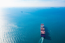 Aerial Top View Container Carrier Ship And Business Logistic Commercial Intermodal Freight Transport In Import Export, Cargo Ship Of International Travel Sea Freight Around The World, Container Ship