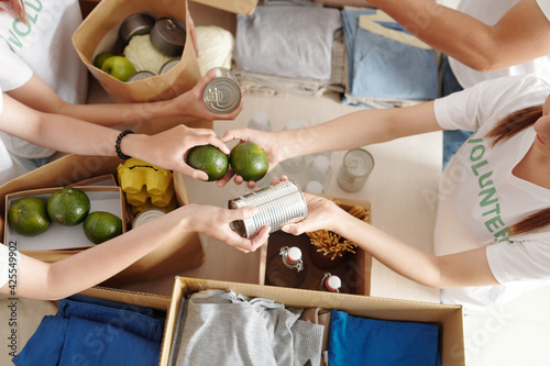 Obraz na plátně Hands of volunteers passing canned food and green citrus fruits when packing box