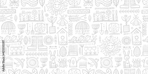 Obraz Spring and Gardening Background. Seamless Pattern for your design - fototapety do salonu