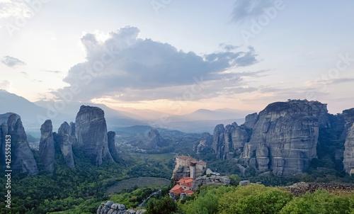 Fotografie, Obraz Panorama of Rocks and Monasteries of Meteora, Greece