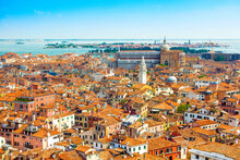 Venice Old Historical Centre With Buildings With Red Tiled Roofs, Churches And Bell Tower, Italy