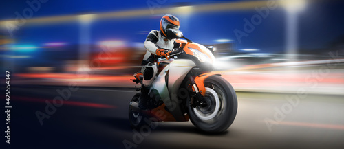 Fotografia, Obraz Speed motion blur motorcycle in the city night.