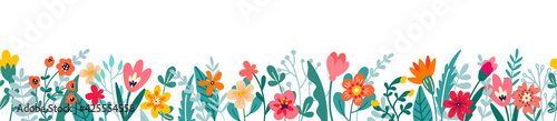 Cute horizontal banner with hand drawn blooming flowers. Floral seamless patterns border. Vector illustration on white background