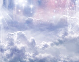 abstract angelic mystic mystical magic magical religious spiritual blue background with stars and cloudy sky
