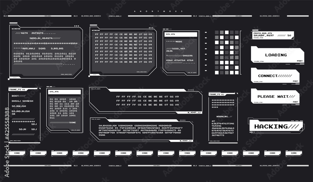 Fototapeta Internet privacy and safety. Futuristic interface elements set. Futuristic UI concept. Hacker interface. Abstract terminal console. Hud background. Hacking process.