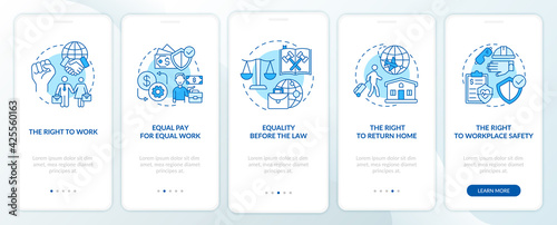 Valokuva Migrant workers rights blue onboarding mobile app page screen with concepts