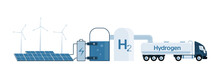 Getting Green Hydrogen From Renewable Energy Sources. Vector Illustration
