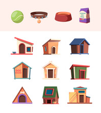 Zoo Market. Domestic Animals Accessories Toys For Dogs Wooden House Pets Bowl Water Bottles Bones Garish Vector Illustrations Set