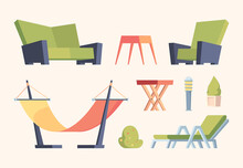Garden Decoration. Modern Furniture For Relax Time In Garden Outside Terrace Items Chairs Swing Bushes Couch Garish Vector Flat Pictures Collection