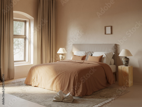 Obraz na plátně 3d rendering of a beige atmospheric Mediterranean simple cozy relaxing elegant s