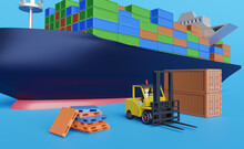 Cargo Ship And Stick Man Forklift Driver With Pallet For Import Export And Goods ,logistic Import Export Concept ,3d Illustration Or 3d Rendering