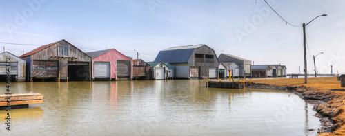 Foto Panorama of harbor and boathouses in Port Rowan, Ontario, Canada