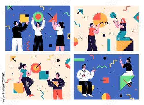 Cuadros en Lienzo Set of Flat style business backgrounds