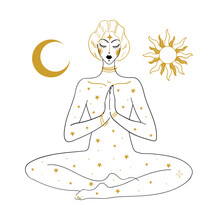 The Woman Is Meditating, Against The Background Of The Sun, The Moon And The Stars. Linear Drawing, Concept Of Peace Of Mind, Relaxation, Mental Health, Esotericism And Witchcraft. Vector Boho Tattoo