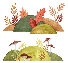 Watercolor Hand Painted Illustrations. Forest Scenes With Bushes And Mushrooms. Decorative Backgrounds