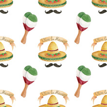 """Watercolor Bright Colorful Pattern For The Holiday Cinco De Mayo, Pattern With Sombrero, Mustache, Maracas And With A Banner On Which The Inscription """"viva La Mexico"""", Pattern On A White Background"""