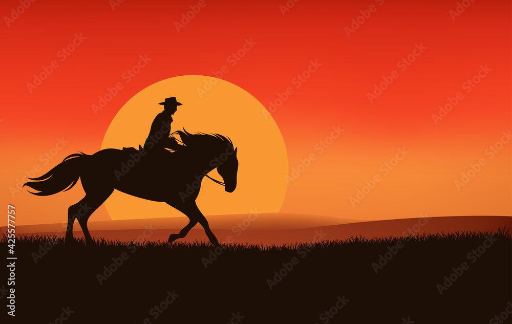 Fototapeta wild west sunset landscape scene vector silhouette design with cowboy riding horse and sun disk
