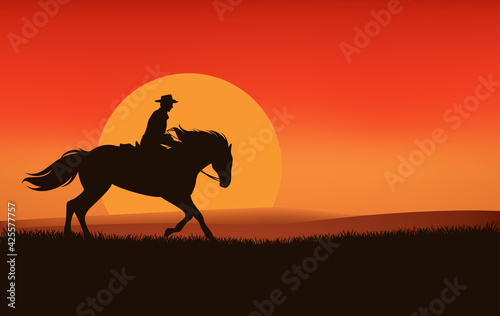 Obraz wild west sunset landscape scene vector silhouette design with cowboy riding horse and sun disk - fototapety do salonu