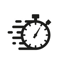 Quick Time Icon, Fast Deadline. Timer And Stopwatch Icons. Rapid Line Symbol. Countdown Timer.