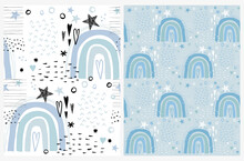 Simple Abstract Rainbows Print. Freehand Baby Shower Vector Patterns Ideal For Fabric,Textile. Hand Drawn Irregular Rainbows, Heart And Stars Isolated On A Pastel Blue And White Background. Magic Sky.