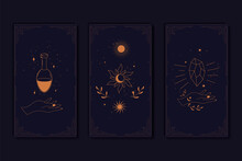 Set Of Mystical Tarot Cards. Elements Of Esoteric, Occult, Alchemical And Witch Symbols