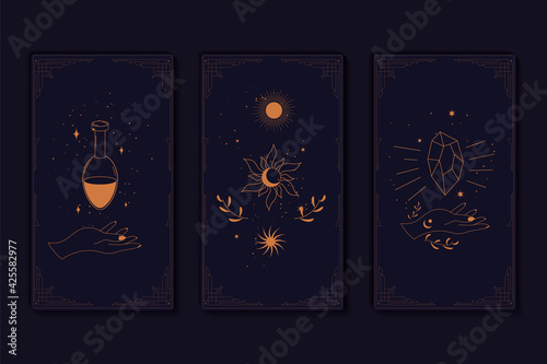 Fototapeta Set of mystical tarot cards