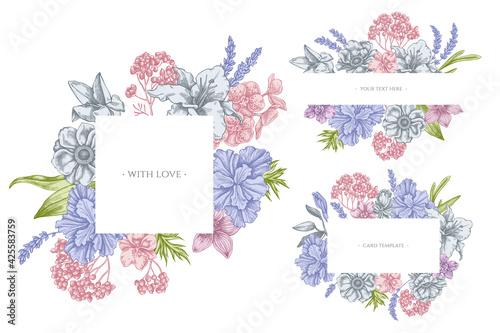 Fotografia Floral frames with pastel anemone, lavender, rosemary everlasting, phalaenopsis,